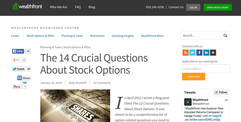 Stock options from startup