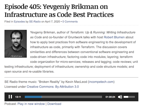 SE Radio Interview: Yevgeniy Brikman on Infrastructure as Code Best Practices